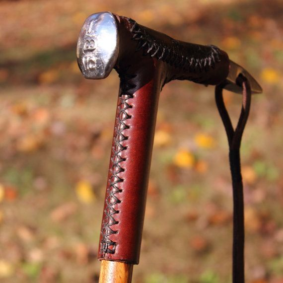 Railroad Spike Walking Cane with Zebrawood by Iron Head Walking Canes by Vincent Downing (p) [Found on etsy.com]