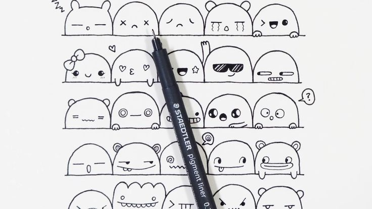 30 Cute Faces / Expressions to Doodle by Pic Candle / Drawing Technique