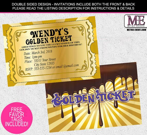 Chocolate Factory Invitations, Golden Ticket Invitations, Golden Ticket…
