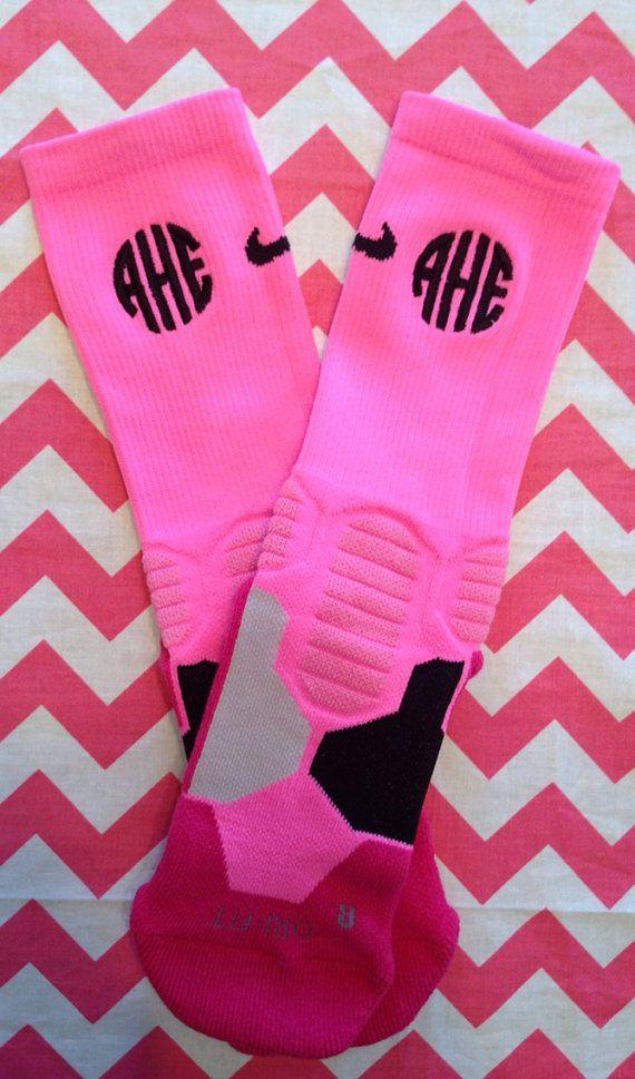 Monogrammed Nike Hyper Elite Socks by Bouffants on Etsy...someone get me these!