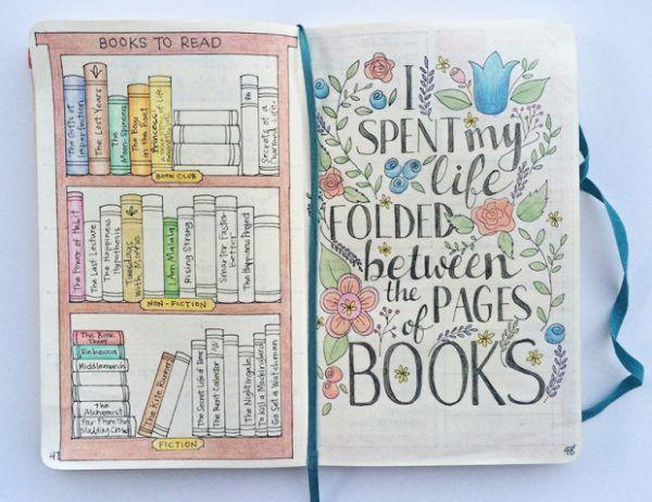book list travelers notebook bulett journal