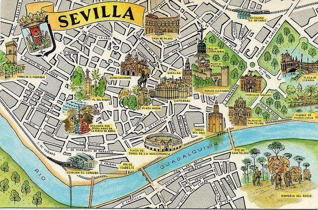 Era Un Mapa De Sevilla Espaa Tena Muchas Lugares Famosas Estaba En El Sur