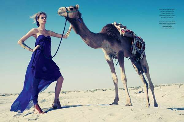 Jacquetta Wheeler Connects with Camels for Daniel Burman and L'Officiel #desert #fashion trendhunter.com