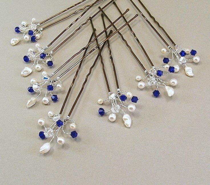 Custom Wedding Hair Accessories, Swarovski Cobalt Crystal, Handwired Bridal Hair Pins, Cobalt Wedding Hair Pins. $35.00, via Etsy.