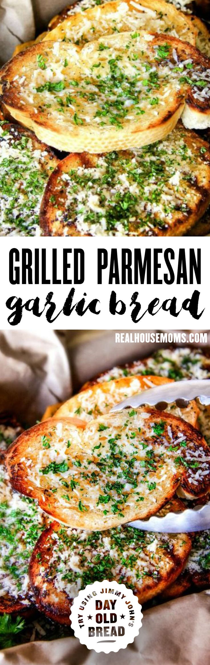 Buttery, thick Italian spiced Grilled Parmesan Garlic Bread is the perfect summer side to almost any meal and so incredibly easy and budget friendly! via @realhousemoms. Try making with Jimmy John's Day Old Bread!