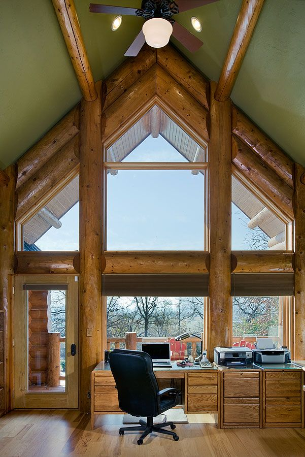 1000 images about log cabin offices on pinterest window for Log home sunrooms