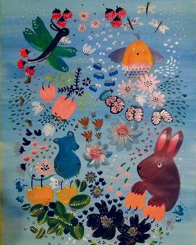 Iltaprojekti. Eveningproject. Sokru / Outi Virtanen, 50x70 cm. #sekatekniikka #mixedmedia #akryyli #acrylics #vesivärit #watercolours #painting #maalaus #kuvitus #illustration #taide #art #flowers #kukat #eläimet #animals #nature #decor #sisustus