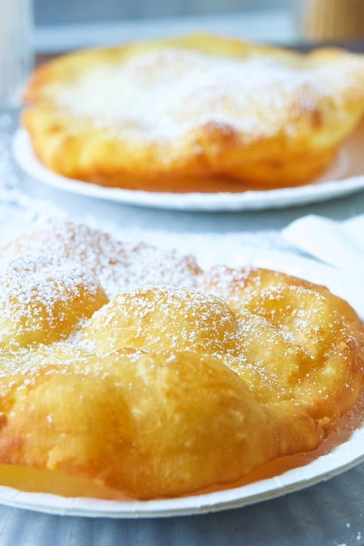 County Fair Fried Dough - crispy fried bread topped with powdered sugar or maple syrup.