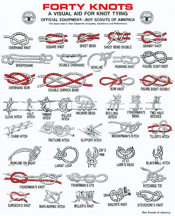 Printable Charts / Guide for Knot Tying.  Found over at Geek Prepper http://www.geekprepper.org/handy-knot-guides/