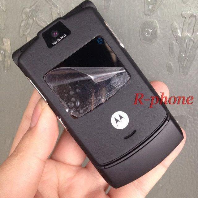 Refusbiehd Original Motorola Razr V3 Mobile Cell Phone Unlocked 2G GSM Unlocked Arabic Russian Keyboard
