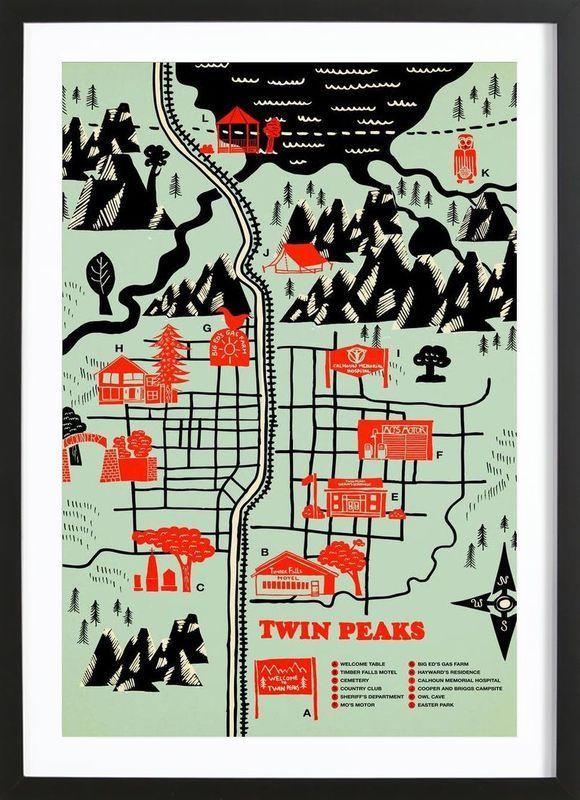 Twin Peaks as Poster in Wooden Frame by Róbert Farkas   JUNIQE UK