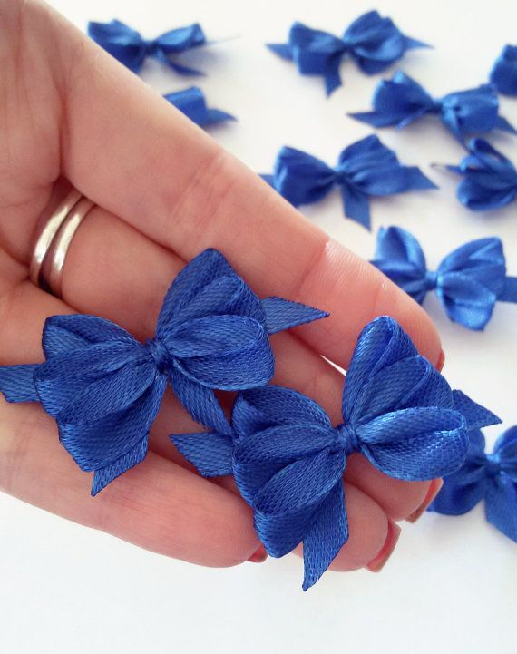 Handmade satin bows navy blue applique bows blue by Rocreanique on Etsy