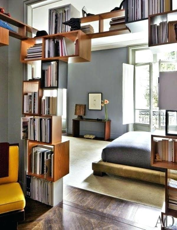 Bookshelf Room Divider Bedroom Unique Book Shelves Dividers For Masculine Within Wooden