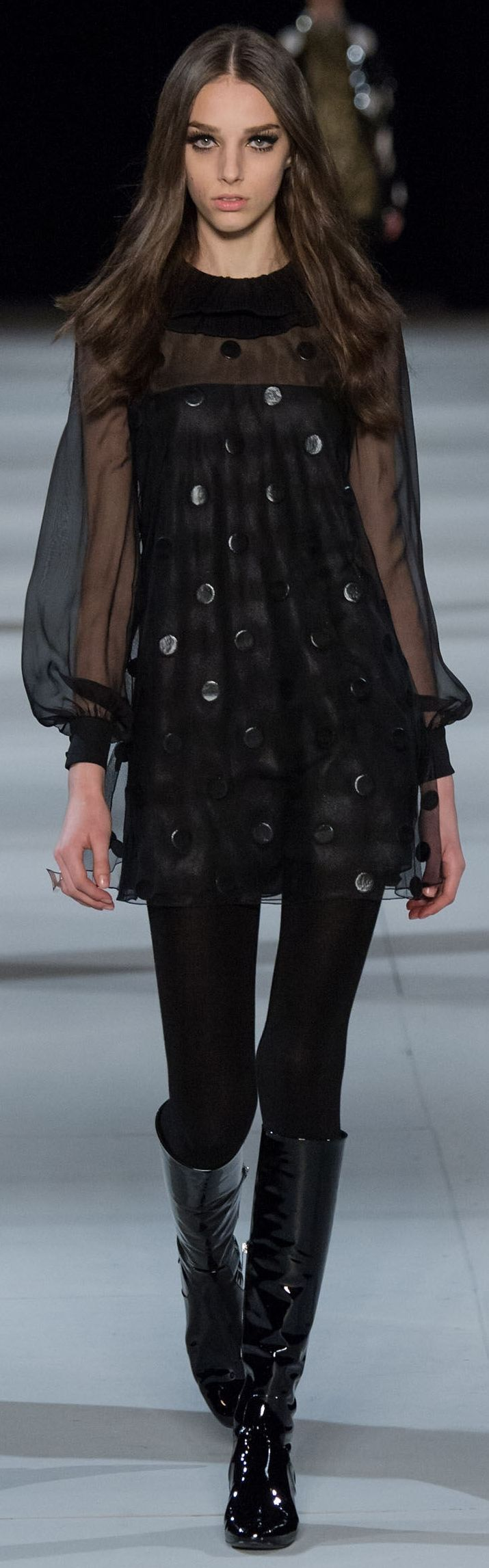 Yves Saint Laurent RTW F/W 2014-2015. Does this woman look like a familiar actress or something...? #saintlaurentdiscount
