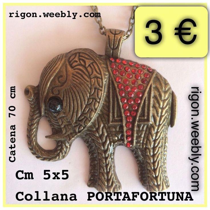 COLLANA GIROCOLLO BRONZO CIONDOLO ELEFANTE CON STRASS ROSSO 3€