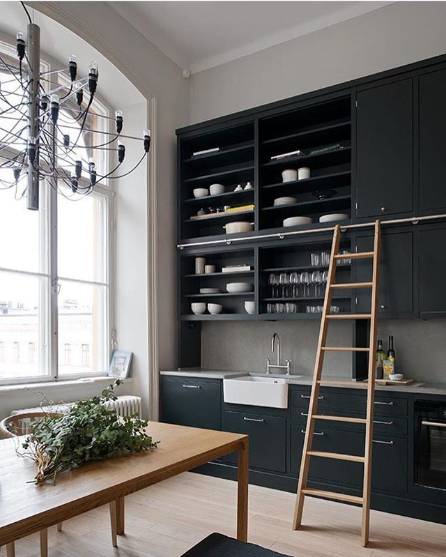 Taking a note from @oscarproperties to add #openshelving and moody hues to our next #kitchen remodel. 😍