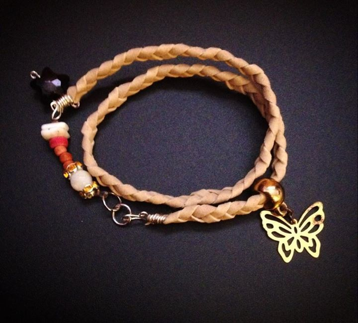 handmade braided bracelet, chips ,gold butterfly https://www.facebook.com/xtworld?ref=hl