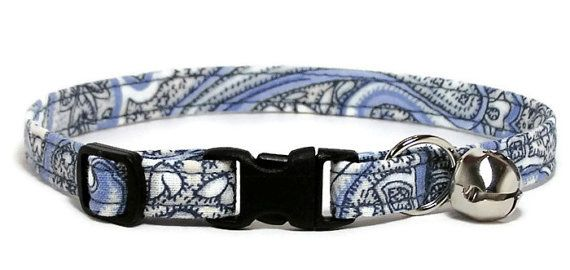 Fancy Cat Collar  Vintage Blue Paisley by PawsnTails on Etsy, $9.00