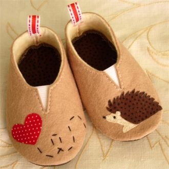 A-dorable! Felt hedgehog shoes   (range in size from 6 weeks to 24 months)
