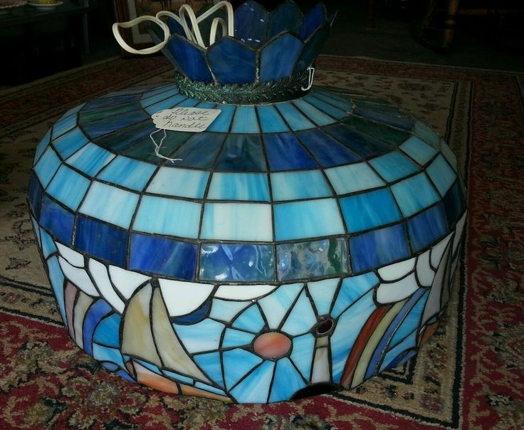 Tiffany Style Stained Glass Nautical Hanging Lamp Fixture