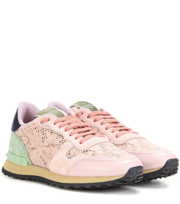 Valentino - Sneakers Rockrunner mit Veloursleder und rosa Floralspitze