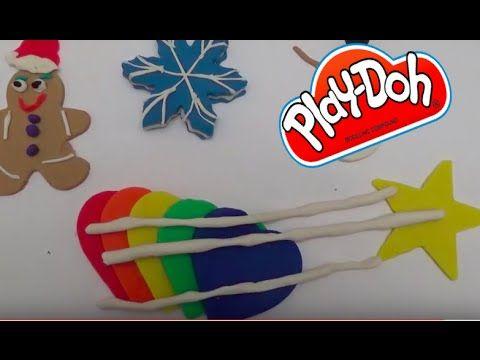 Christmas cookies play doh DIY Heart rainbow star, snowman and ginger br...