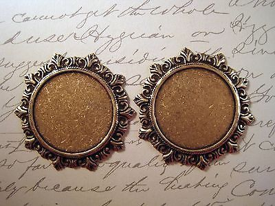 Large Victorian Oxidized Brass Plaque Stamping (2) - BORAT4237 Jewelry Finding