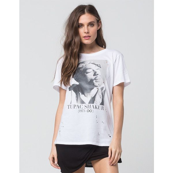 Tupac Womens Distressed Tee ($27) ❤ liked on Polyvore featuring tops, t-shirts, oversized t shirt, graphic design t shirts, distressed graphic tee, oversized tee and oversized graphic tee