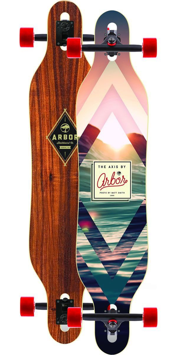 The Arbor Axis Koa Longboard Skateboard Complete - 2014 The Arbor Axis Koa is one of Arbor's longest standing cruiser boards out there and that's for a reason. It's a simple drop through design with extremely mild concave. What this does is that it makes the Arbor Axis Koa a very forgiving ride for long cruises along the road with your friends. The effective foot platform is perfectly sized for both dancing and cross-stepping around to not only make your cruise fun but exciting as well.