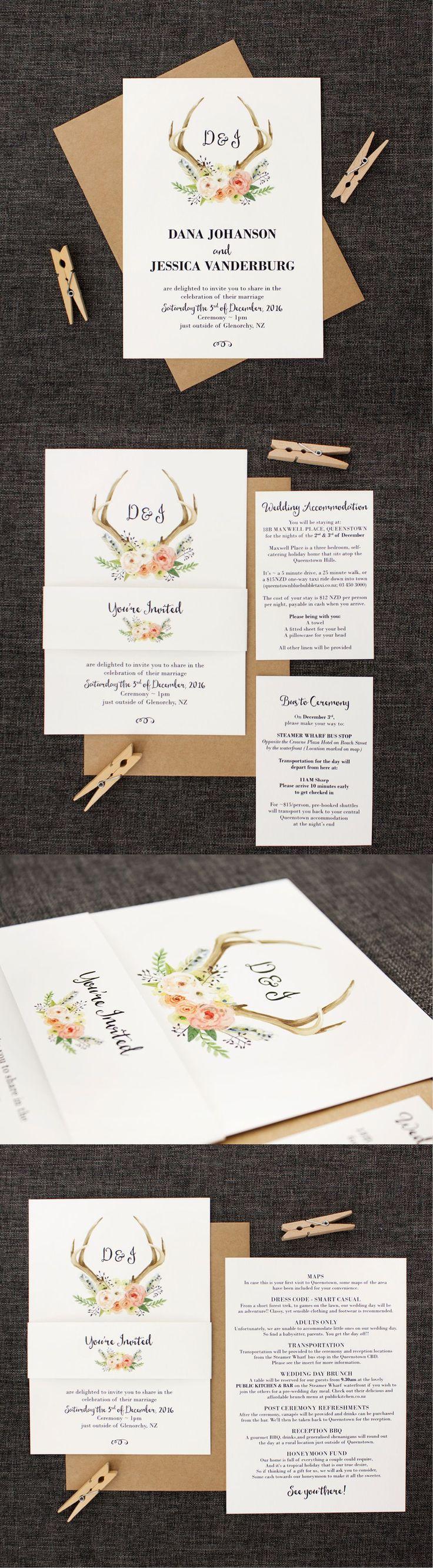 wedding invitation templates in telugu%0A Watercolour Deer Antlers and Flowers Wedding Invitation for a rustic  country wedding  weddinginvitation
