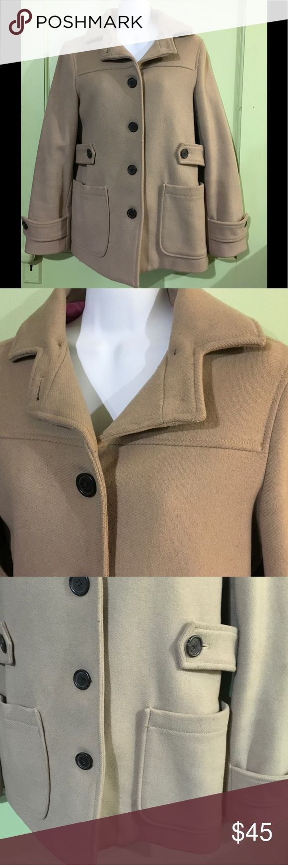 """GAP - Tan Wool Peacoat Gap Jacket   Size: Small  Description: Tan peacoat/jacket. Collar. 4 Button closure on front. 2 open pockets on front. Long sleeve. Jacket is lined. Slit in back. 78% wool/22% nylon.  Condition: Excellent used condition. Very light wear throughout. Dimensions: 18.5"""" from armpit to bottom hem. 17"""" from armpit to armpit. 19"""" from armpit to sleeve hem. 17"""" from shoulder to shoulder.  Inventory Reference: #AL198 GAP Jackets & Coats Pea Coats"""