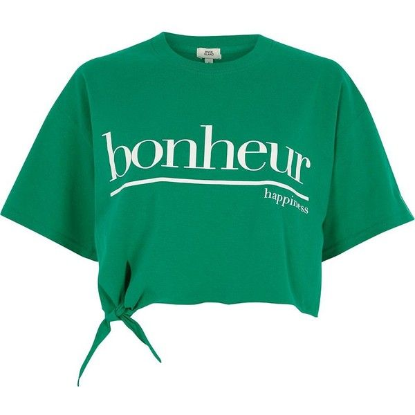 River Island Green 'bonheur' cropped knot front T-shirt (£28) ❤ liked on Polyvore featuring tops, t-shirts, crop tops / bralets, green, women, short sleeve tee, print t shirts, green t shirt, short sleeve crop top and bralette crop top