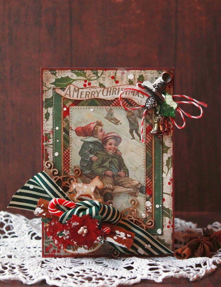 Пожеланиями доброго, скрапбукинг открытка новый год рождество