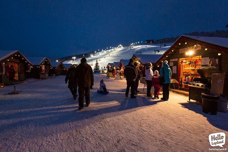New Year's day on the Levi Market Square. 1.1.2014 in Levi Ski Resort in Lapland Finland.