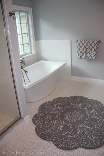 Vivid Hue Home: His And Her Master Baths   Scalloped Rug