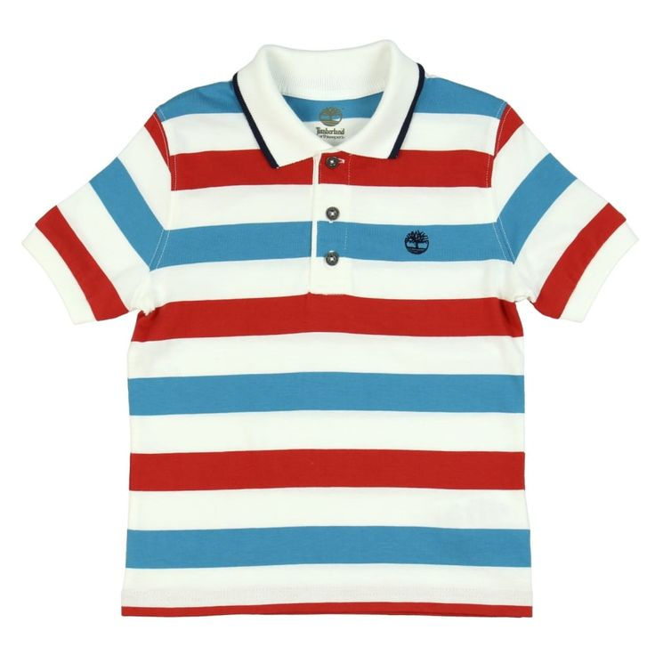 Boy's White Polo Shirt with Red and Teal Stripes. Now available at www.chocolateclothing.co.uk