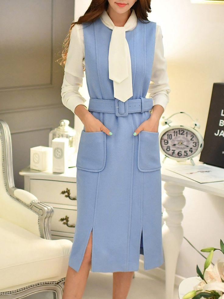 Shop Midi Dresses - Sleeveless Pockets Elegant Sheath Plain Midi Dress online. Discover unique designers fashion at StyleWe.com.