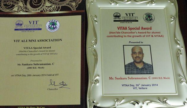 Award from my alma mater - VIT University
