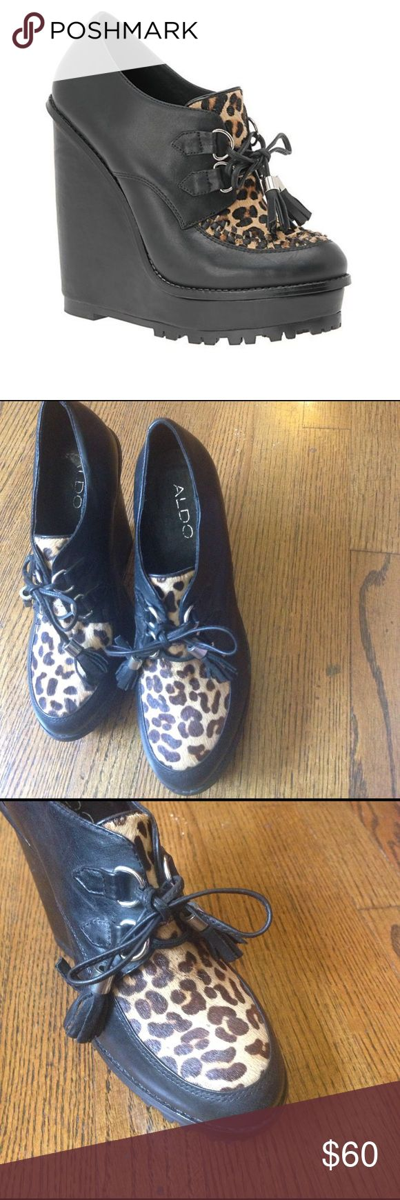 Aldo Roder Leopard Print Wedge Platform Shoes Gently worn with minor scuffs on wedge high platform wedge heels. So fun and cute. Perfect for fall. Aldo Shoes Platforms