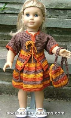 American Girl Doll Back to School Outfit (Cardigan, Skirt and Backpack) - free pattern