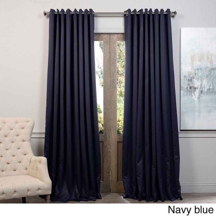 exclusive fabrics extra wide thermal blackout grommet top inch curtain panel navy blue