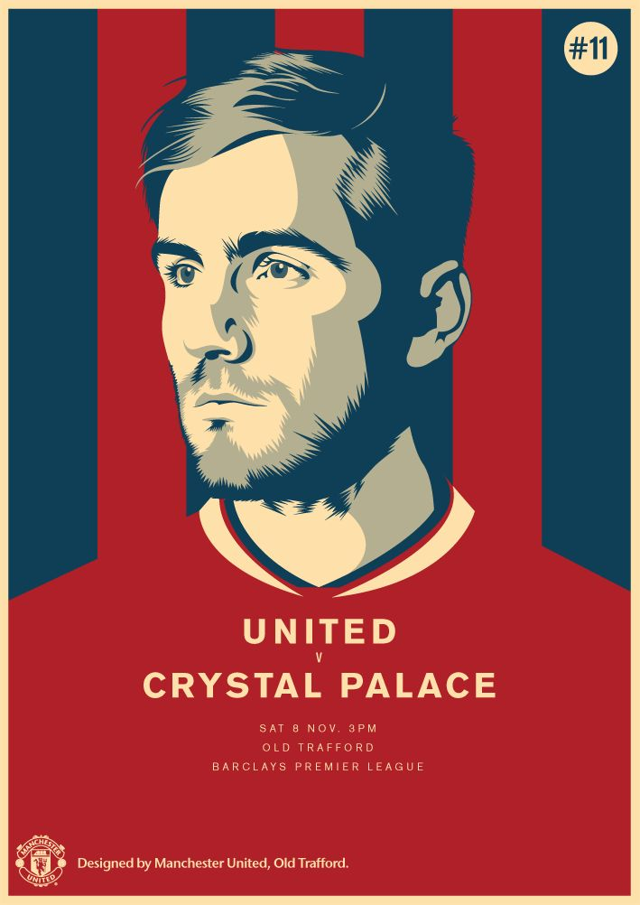 Match poster. Manchester United vs Crystal Palace, 8 November 2014. Designed by @manutd.