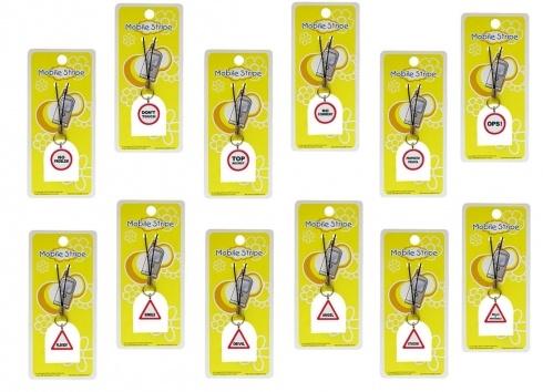 SODA COW PHONE STRIPE SEGNALI 12 VERSIONI. Phonestrap in resina a forma di cartello di divieto con all'interno sei varanti di scritte