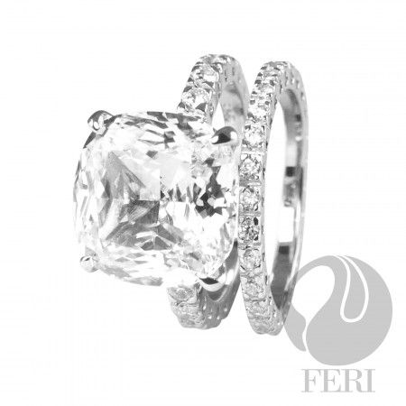 FERI Majestic Ocean Ring  - 950 Siledium  - 0.5 micron natural rhodium plating - Hypoallergenic  - Size 13mm - Set with AAA white cubic zirconia - Dimension: 15mm x 15mm (centre stone) - 2 band ring  Invest with confidence in FERI Designer Lines