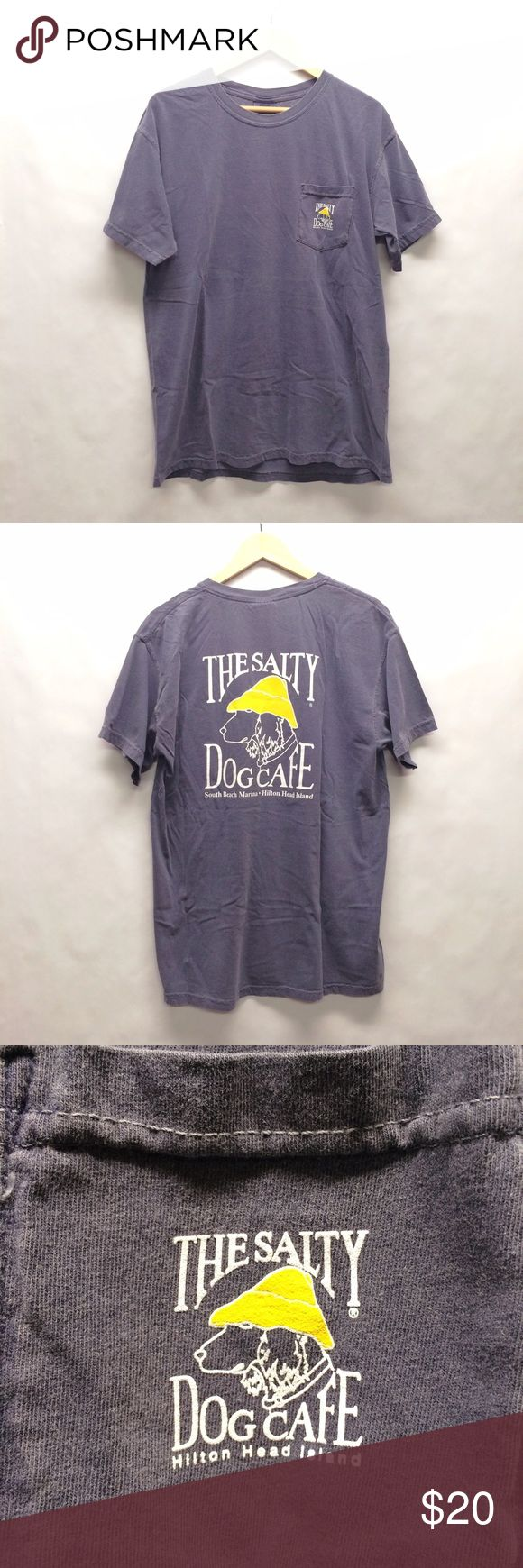 Salty Dog tee Jake, The Salty Dog, is a legend so much so that he is worthy of being put on t-shirts to be admired all across the land. The food at the cafe is good too. Comfort Colors brand pocket tee.   No trades. Reasonable offers accepted through offer feature. Tops Tees - Short Sleeve