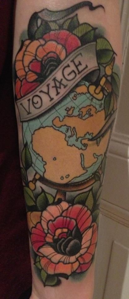 This is definitely like the style I want for my half sleeve, but with a typewriter instead of a globe.