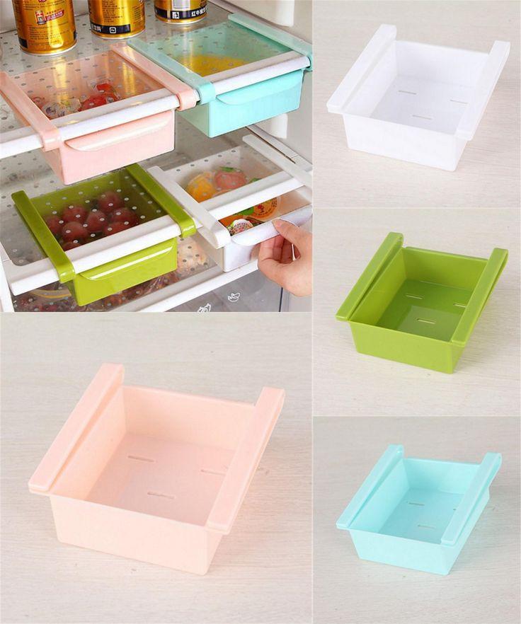 [Visit to Buy] Refrigerator Fresh Spacer Layer Multi-purpose Storage Rack Creative Kitchen Supplies Twitch Type Glove Box #Advertisement