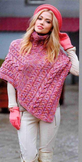 Patrón #1332: Poncho Dos Agujas | CTejidas [Crochet y Dos Agujas]                                                                                                                                                      Más