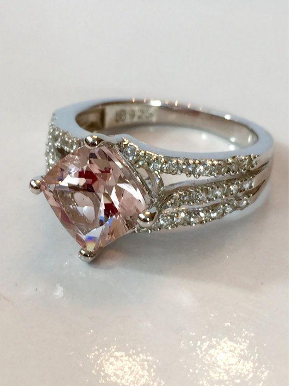 Vintage Jewelry Ring 2ct Morganite Ring Pink Genuine