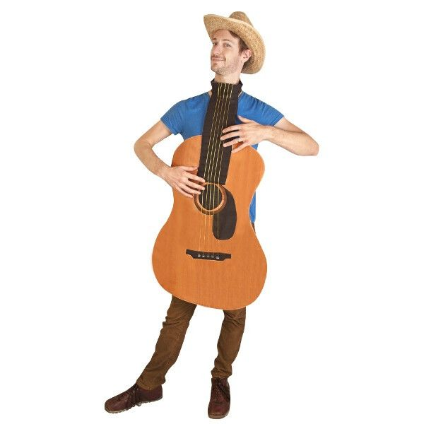 Our adult guitar costume plays beautifully. By adding a cowboy hat you can make a hilarious western costume. - Foam guitar - Includes guitar headstock hat (shown in alternate photo) - Hat sold separat